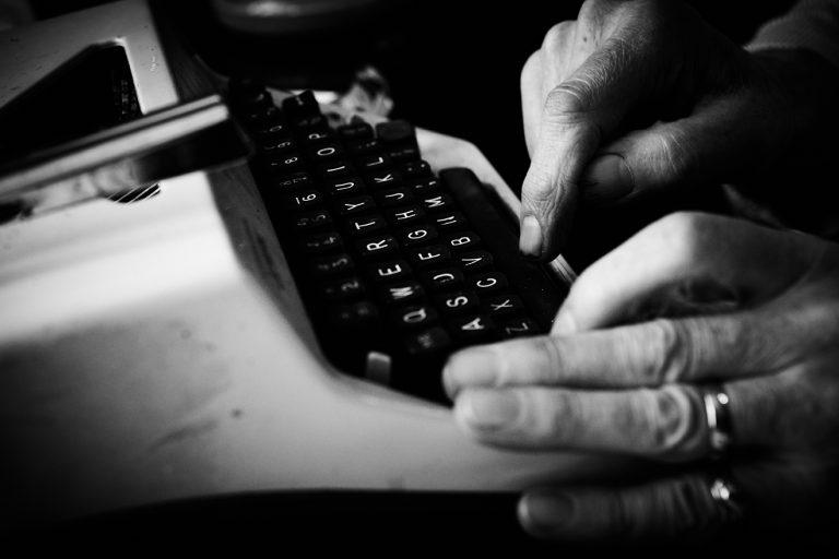 John Byrne and typewriter