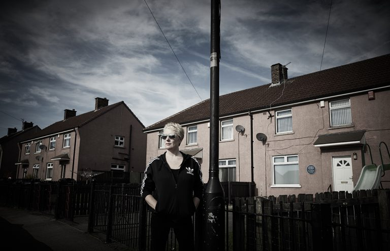Michelle Holmes (photographed outside the former home of Andrea Dunbar)